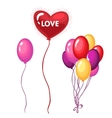 Bouquet of brightly colored balloons on holiday vector image vector image