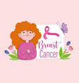 breast cancer cartoon woman pink ribbon flowers vector image vector image