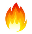 burning fire icon yellow red flaming symbol vector image