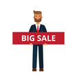 businessman with big sale sign cartoon flat vector image vector image