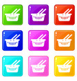 cart shop icons set 9 color collection vector image