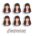 cartoon girl emotion set vector image
