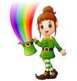 cartoon girl leprechaun holding hat with magic rai vector image vector image