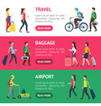 cartoon people traveling banner horizontal set vector image vector image