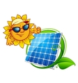 Cartooned cheerful sun with blue solar panel vector image vector image