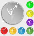 cheerleader icon sign Symbol on eight flat buttons vector image