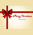 christmas card postcard card with red bow and vector image vector image