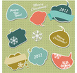 Christmas stickers in form of speech bubbles vector image vector image