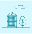 city thin line office building with tree vector image vector image