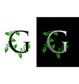 elegant g letter icon with luxury green leaf logo vector image vector image