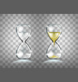 empty and full gold glitter transparent hourglass vector image