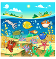Family of funny fish in the sea vector image vector image
