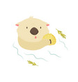 funny otter with shell floating in a river vector image vector image