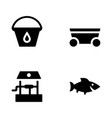 gardening solid icons vector image