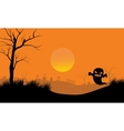 Ghost in tomb scary Halloween vector image