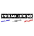 grunge indian ocean scratched rectangle stamp vector image vector image