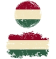 Hungarian round and square grunge flags vector image vector image