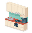 kitchen set isometric design vector image vector image