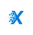 logo letter x blue blocks cubes vector image
