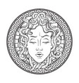 medusa gorgon head on a shield hand drawn line art vector image vector image