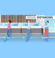 mix race passengers keeping distance to prevent vector image vector image