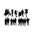 people action silhouettes vector image