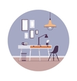 Retro interior with pictures on the wall in a vector image vector image