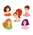 set cute female head and shoulders avatars vector image vector image