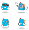 set of blue book character with cool waving afraid vector image vector image