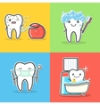 Set of cartoon teeth care and hygiene concepts vector image vector image