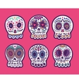 set of six skulls mexican holidays vector image vector image