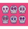 set six skulls mexican holidays vector image vector image