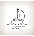 Silhouette yacht on a light background vector image vector image