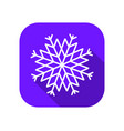 snowflake flat icon with long shadow symbol of vector image vector image
