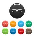 sport eyeglasses icons set color vector image