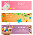 spring and easter festive web banners set vector image vector image