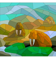 stained glass with walruses vector image