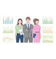teamwork people with information analyzing job vector image vector image