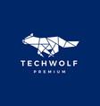 tech wolf polygonal logo icon vector image