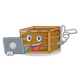 with laptop crate character cartoon style vector image vector image