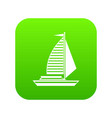 yacht with sails icon digital green vector image