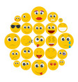 smile icon set isolated flat style vector image