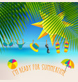 summer themed background with palm leaves and vector image