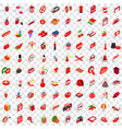 100 red icons set isometric 3d style vector image vector image