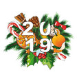 2019 new year with sweets vector image vector image