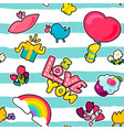 and cartoon romantic love seamless pattern vector image vector image