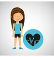 athlete girl heart pulse sport style vector image