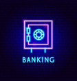 banking safe neon label vector image