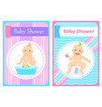 bashower greeting cards with kid in round frame vector image vector image