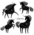 black unicorn silhouettes vector image